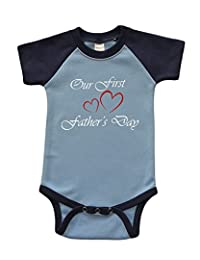 Short Sleeve Raglan Onesie - Our First Fathers day