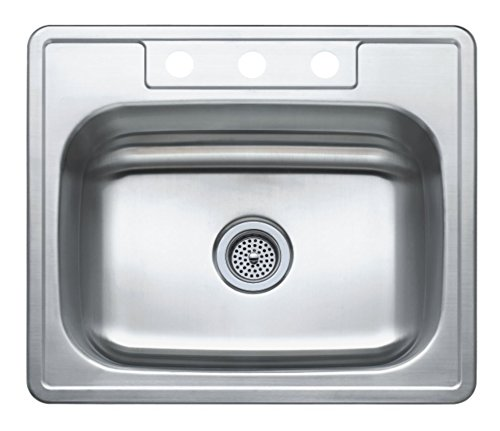 Winpro 25''x 22'' x 7'' Top Mount Single Bowl 304 Stainless Steel Kitchen Sink with 3 Faucet Holes by WinPro