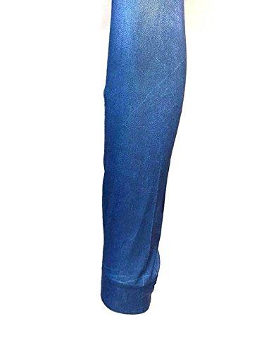 Jean Femme Déchiré Etirement Maigre Patché Denim Legging en Bleu T: L/XL