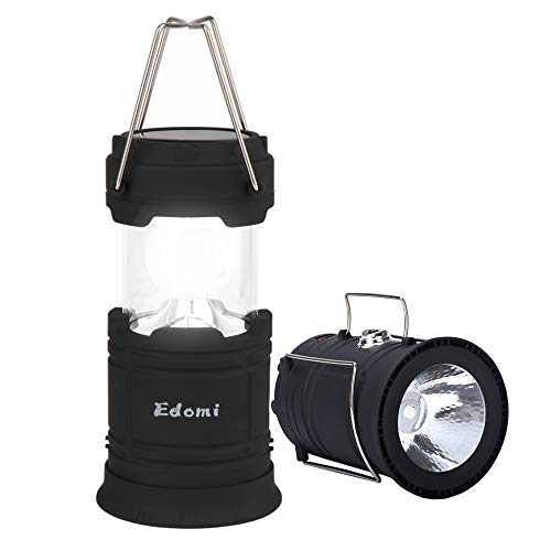Edomi Outdoor Solar Lights, Led Portable Camping Lantern Rechargeable Flashlights -USB+Solar Panels, 2 Lighting Modes, with Power Bank, Collapsible Tent Reading Lamp for Emergency Outages Hurricane
