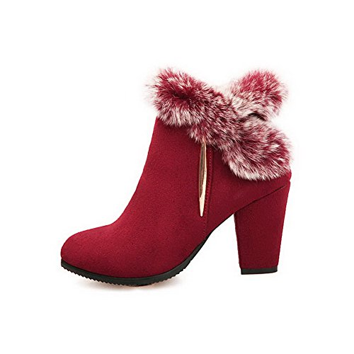 Top Frosted Low Stiefel Rot Damen Heels Solid Allhqfashion High Zipper 4WvSZCC