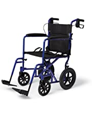 Medline Transport Wheelchair with Brakes, Blue