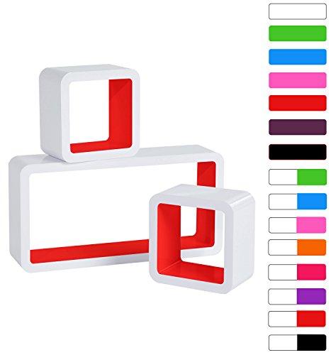 3er Set Wandregal Bücherregal, Cube Regal CD-regal, MDF Holz, Farben auswählbar, Weiß-Rot RG9229rt