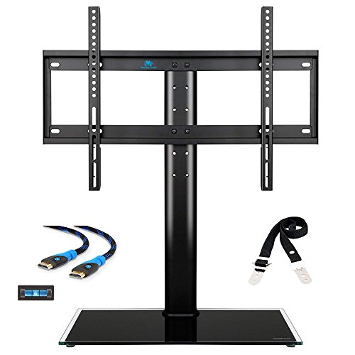 Plasma Base (Mounting Dream MD5109 table top TV stand with anti-tip strap, 3 set height adjustment and tempered glass base fit for most of 42-60 Inches Plasma, LED, and LCD TVs with Max VESA 600x400mm (24'' x16''))