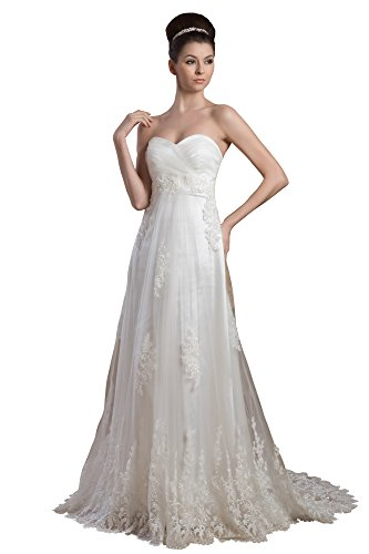 Vogue007 Womens Sweetheart Soft Mesh Pongee Satin Wedding Dress with Floral, ColorCards, 16 by Unknown