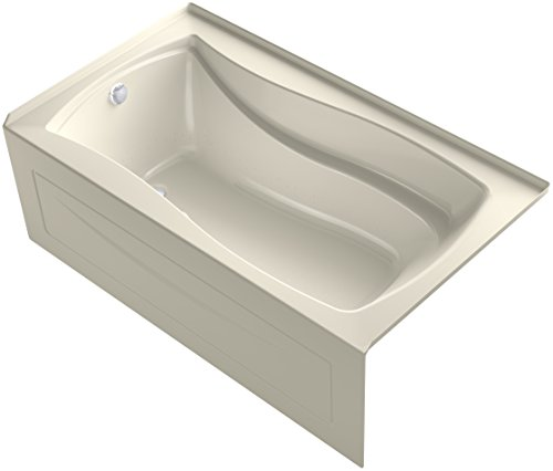 KOHLER K-1224-GLA-47 Mariposa 66-Inch x 36-Inch Alcove BubbleMassage Air Bath with Integral Apron, Tile Flange and Left-Hand Drain, Almond