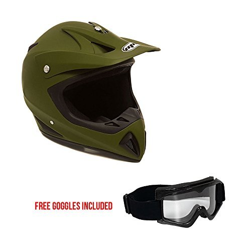 Motorcycle Helmet Off Road MX ATV Dirt Bike Motocross UTV - Military Green (Large) + FREE Goggles (Atv Off Road Helmet)