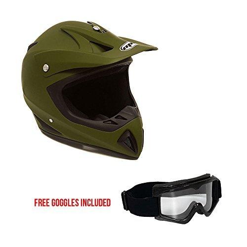 (Motorcycle Helmet Off Road MX ATV Dirt Bike Motocross UTV - Military Green (Large) + FREE Goggles)