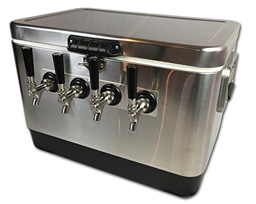 Coldbreak Brewing Equipment CBJB54SPT4 Jockey Box, 4 Tap, Stainless Pass Through, 54 quart Cooler, 50' Coils, 0.25'' ID, 0.3125'' OD, Stainless Steel, Silver by Coldbreak Brewing Equipment