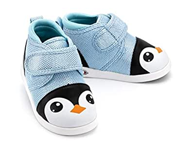 ikiki Squeaky Shoes for Toddlers w/Adjustable Squeaker Blue Penguin (3, Amelia Iceheart)