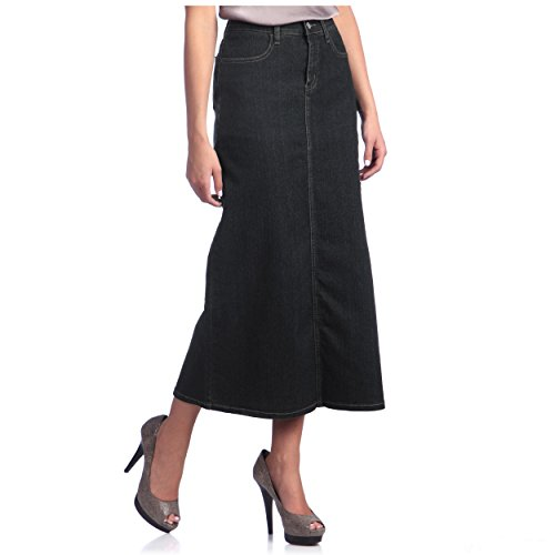 Tabeez Women's Classic Stretch Denim Long Skirt (Medium, Black) (Straight Denim Skirt)
