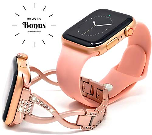 [2 Bands] Luxury Rose Gold Plus Pink Sport Bundle Pack for Women Compatible with Apple Watch 42mm 44mm iwatch Series 4 3 2 1, Soft Silicon and Bling Jewelry Stainless Steel Strap by Sync Elements