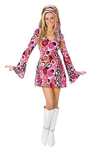 Fun World Women's Retro 60s Feelin Groovy Mod Costume, Multi, Med/Lrg
