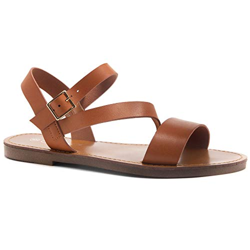 Herstyle Women's Merina Open Toes Ankle Strap Flat Sandals Cognac 10.0