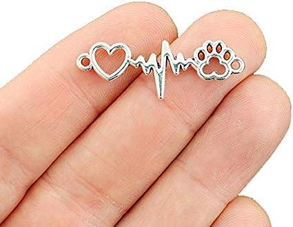 50 Heart charms silver tone bulk buy 15 x 10mm