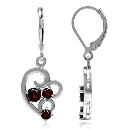 (1.28ct. 3-Stone Natural Garnet White Gold Plated 925 Sterling Silver Leverback Dangle Earrings)