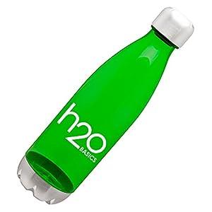 BPA-Free Sport Water Bottles 25 oz, Tritan Non Toxic Plastic, Reusable Flask with Stainless Steel Leak Proof Twist Off Cap & Steel Base, Cola Bottle Shape, Green 25 oz