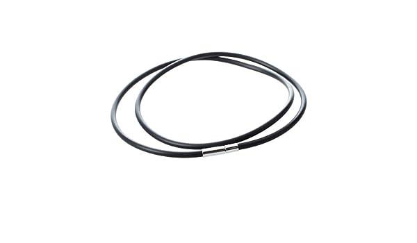 b5ea36f9b88c REFURBISHHOUSE Collar de Caucho Negro de Cierre de Acero Inoxidable con 3  mm - 22 Pulgadas  Amazon.es  Joyería