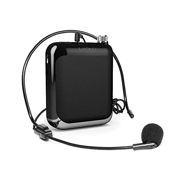 Maono AU-C01 Portable Rechargeable Voice Amplifier with FM Radio, LED Display, Wired Headband Microphone, Speaker and Waistband, Support MP3/TF Card (Black)