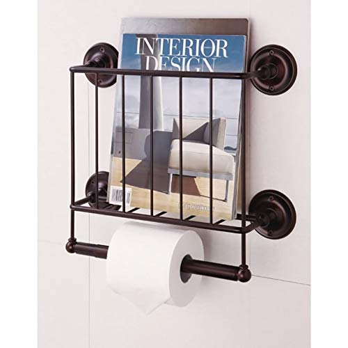 MISC Double Toilet Paper Tissue Holder Magazine Rack Rustic Oiled Bronze Bathroom Accessories Industrial Home Decor