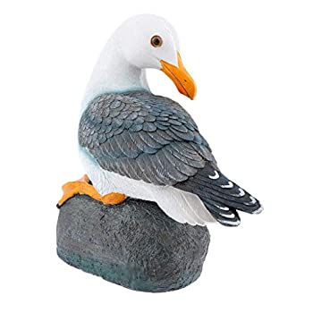 Flameer Creative Resin Craft Gift Seagull Bird Statue for Garden Yard Bathroom Decor - Sitting, as described