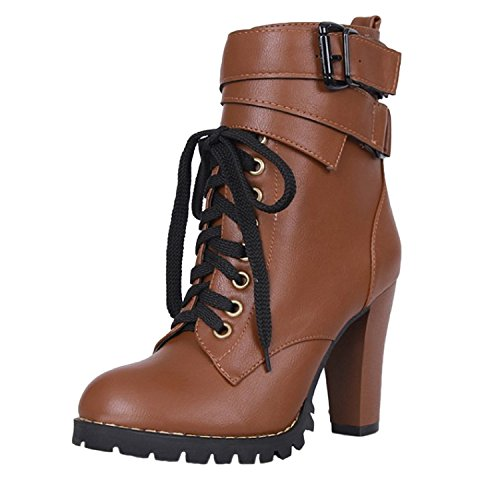 Nonbrand Women's block high heel military ankle boots lace up buckle shoes Brown