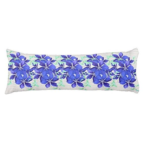 Cute Cushion Cover for Bed Purple Clematis Vines on Gray Wood Body Pillow Case 20 x 54 Inch