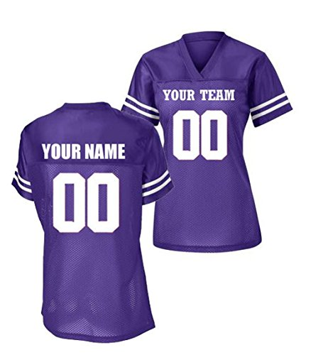 Womens Custom Football Replica Team Jersey (X-Large, Purple)