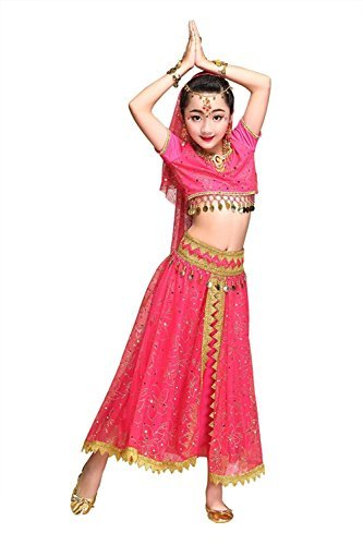 Feimei Girl's Exotic Jasmine Belly Dance Costume Set with Halter Top Parkly Fringe Skirt and Sequin Coins Designed for Performance Cosplay Carnival and Halloween Party (Rose-red, Medium) -