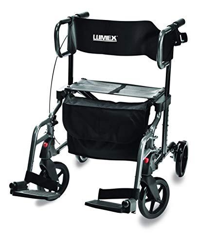 - Lumex HybridLX Rollator & Transport Chair, Titanium, LX1000T