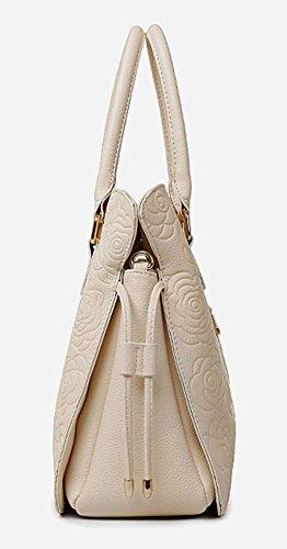 Longzibog Dual verstellbare Schultergurte und Hängeschlaufenband 2016 Neue Simple Style Fashion Tote Top Handle Schulter Umhängetasche Satchel Weiß arJkb