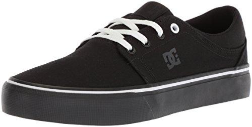 DC Women's Trase TX Skate Shoe, Black/Black/White, 7.5 B US by DC