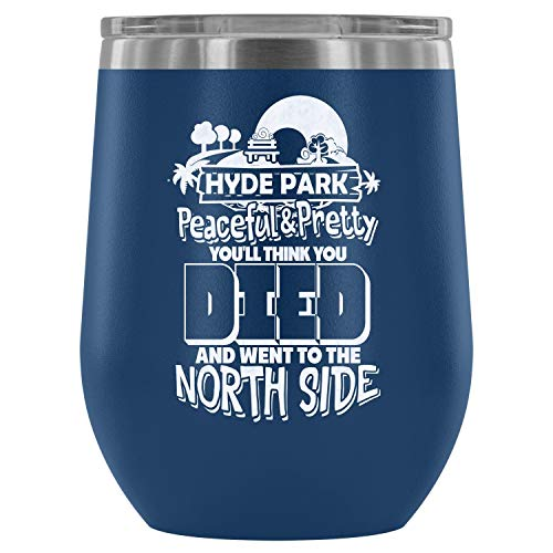 Stainless Steel Tumbler Cup with Lids for Wine, Hyde Park Wine Tumbler, Peaceful And Pretty Vacuum Insulated Wine Tumbler (Wine Tumbler 12Oz - Blue) ()