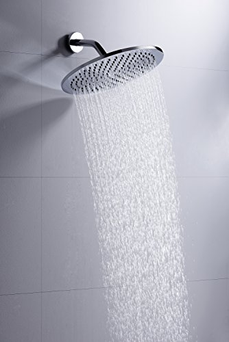 100% METAL 12 Inch Rain Shower Head with 2.5 GPM High Pressure Rainfall Spray | Large Round Rainshower Showerhead for Ultimate Wall or Overhead Ceiling Mount Raincan | Chrome Finish Flush Mount Showerheads