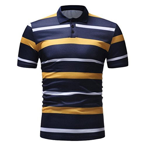 vermers Mens Fashion Polo Shirts Summer Casual Buttons Striped Short Sleeve T Shirt(L, Yellow) by vermers (Image #2)