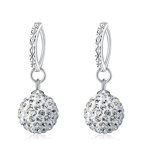 Mandio 925 Sterling Silver Crystal 10mm Disco Ball Earrings, Dangle Drop Earrings for Women/Girls ()