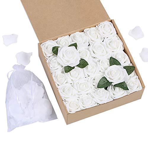 Bunny Lamb Artificial Roses Handcrafted Wedding Flowers for DIY Wedding Centerpieces Bridal Bouquet Flower Arrangement and Church Hotel Restaurant Home Decorations - 50pcs (Pure White)