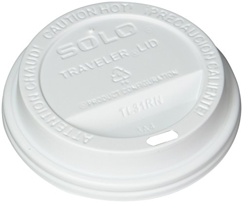 SOLO Cup White Traveler Drink-Thru Lid. Fits 10 Ounce Squat and 12, 16, 20 and 24 Ounce Solo Brand Hot Beverage Cups. 100 (Solo Coffee)