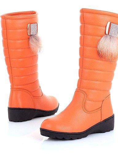 Semicuero negro Comfort 5 Orange Uk5 Redonda us8 Cn40 De 5 5 Eu38 Marrón Botas Orange Uk6 Vestido Tejido Plataforma Eu39 us7 5 Nieve Zapatos Punta Xzz Cn38 Casual Mujer SqCxOP