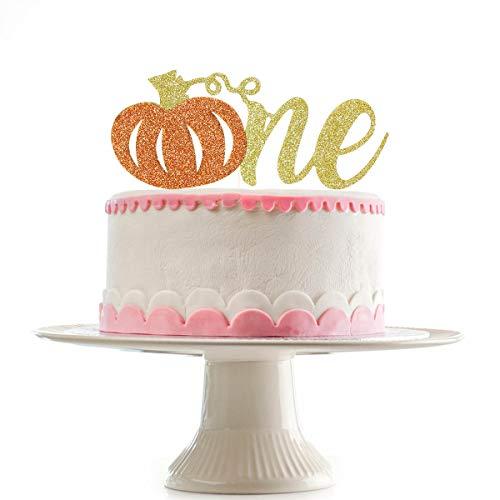 Halloween Pumpkin Cupcake Cake (Glittery Pumpkin One Cake Topper,First Birthday Cake Topper - First Birthday Pumpkin - Fall First Birthday - 1st Birthday Party)