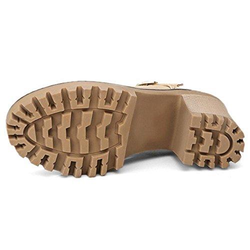 Coolcept Zapatos Primavera de Tacon Ancho para Mujer apricot