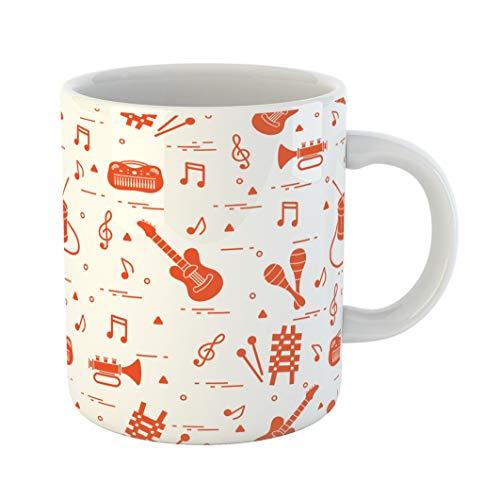 Emvency Funny Coffee Mug Sheet Music and Different Musical Toys Guitar Drum Trumpet Xylophone Maracas 11 Oz Ceramic Coffee Mug Tea Cup Best Gift Or Souvenir