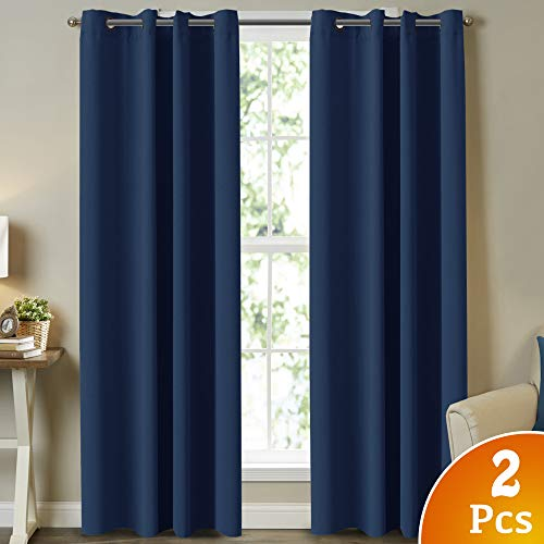 Infant Curtain - Turquoize 2 Panels Solid Blackout Curtain Drapes, Navy Blue Blackout Curtains 84 Inch Length 2 Panels Set Themal Insulated, Grommet/Eyelet Top, Nursery & Infant Care Curtains Each Panel 52