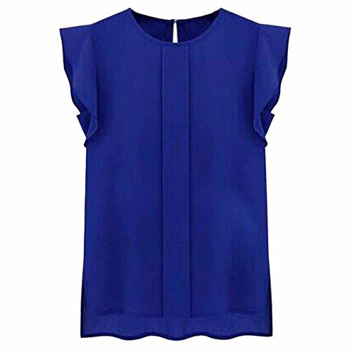 Bat hombro mujeres de cuello redondo camisa del color solido blusa de la gasa del chaleco Blue