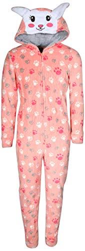 dELiA*s Girls Coral Fleece Onesie Pajamas with Character Hood, Pink Bunny, Size 6X'