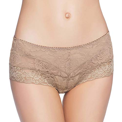 (Eve's temptation Women Lily Everyday Mid-Waist Panties Lace Slimming Tummy Control Underwear Full Coverage Boyshorts-Coffee X-Large)