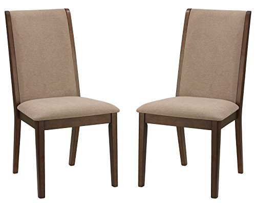 Cortesi Home Kendall Dining Chairs Walnut Color with Fabric, Truffle Taupe (Set of - Dining Kendall Room