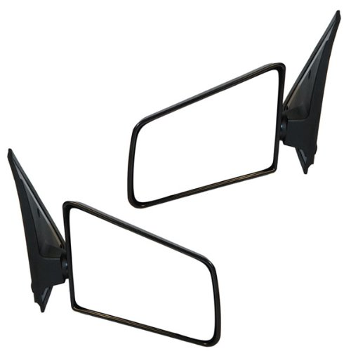 1985-1993 Chevy/Chevrolet S10, GMC S15 Sonoma Pickup Truck, 1985-1994 Chevy/Chevrolet Blazer, GMC Jimmy Manual Black Textured Small Glass (3x5) Rear View Mirror Pair Set: Left Driver AND Right Passenger Side (1985 85 1986 86 1987 87 1988 88 1989 89 1990 90 1991 91 1992 92 1993 93 1994 94) (85 Chevrolet Mirror Chevy S10)
