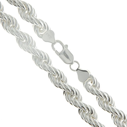 Sterling Silver Hollow Spiral Rope Chain 8mm Pure 925 New Men's Wide Necklace ()