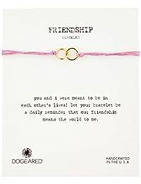 "Dogeared ""Friendship"" Double Link Taupe Silk Adjustable Closure Bracelet"